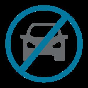 Verkehrsschild: Auto durchgestrichen